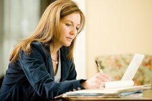 stock photo woman writing